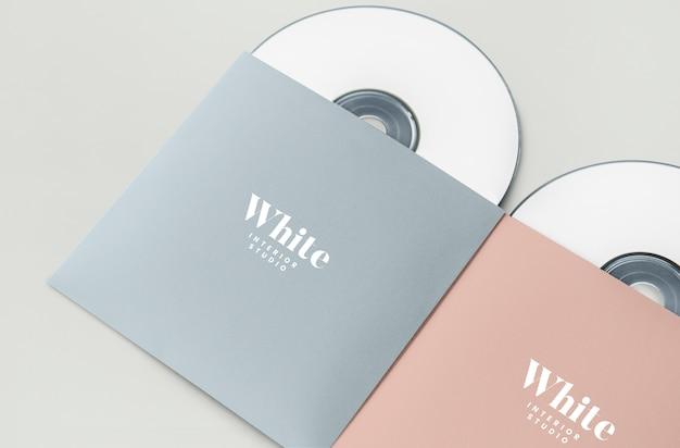 Material promocional maquete do pacote cd Psd grátis