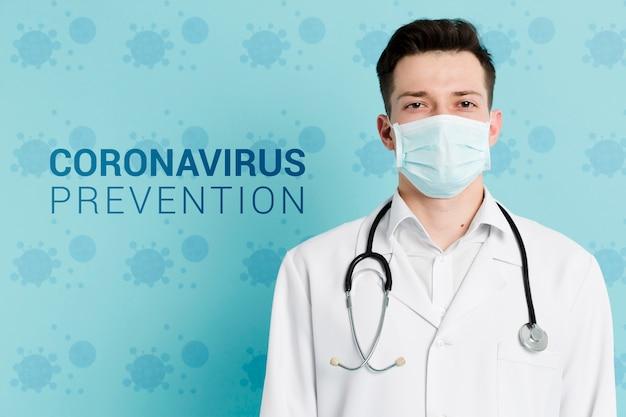 Médico com prevenção de coronavírus máscara e estetoscópio Psd grátis