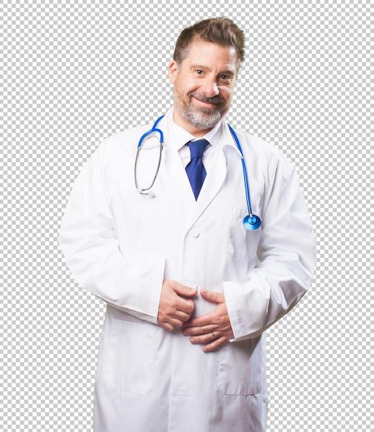 Médico homem sobre fundo branco Psd Premium