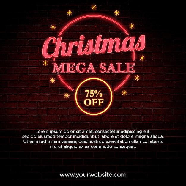 Mega-venda de natal 75% de desconto banner em design de estilo neon Psd Premium