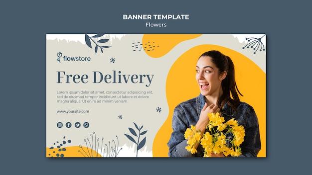 Melhor banner de entrega gratuita de loja de flores Psd grátis