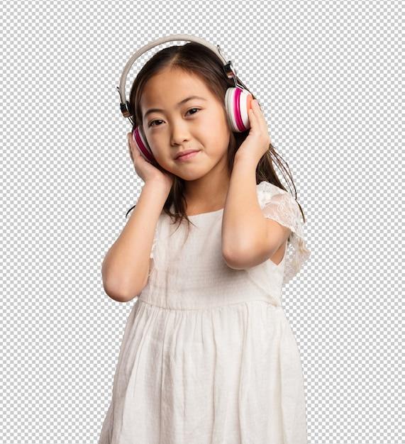 Menina chinesa ouvindo os fones de ouvido Psd Premium