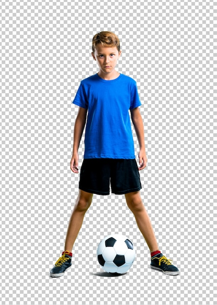 Menino, futebol jogando Psd Premium
