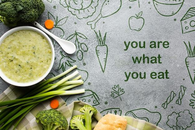 Mensagem de comida e legumes organizados Psd grátis