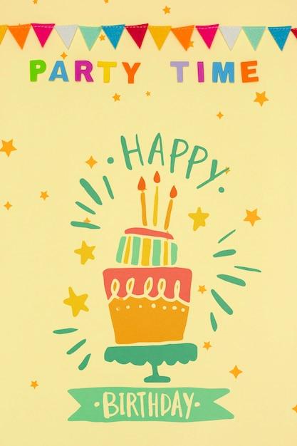 Mensagem de feliz aniversário com maquete Psd grátis