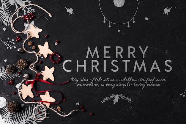 Mensagem de natal ao lado de maquete de decorações Psd grátis