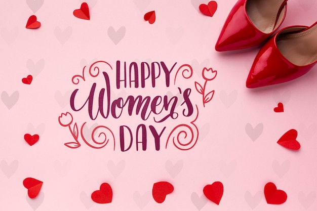 Mensagem do dia das mulheres com sapatos vermelhos ao lado Psd grátis