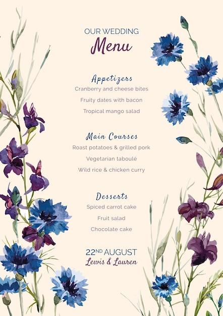 Menu de casamento com flores roxas e azuis Psd grátis