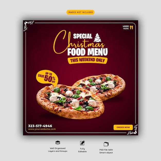 Menu de comida de feliz natal e modelo de banner de mídia social do restaurante Psd grátis