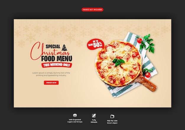 Menu de comida de feliz natal e modelo de banner web de pizza deliciosa Psd grátis