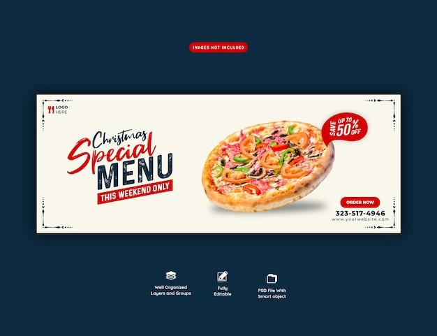 Menu de comida de feliz natal e pizza deliciosa modelo de banner de capa do facebook Psd Premium