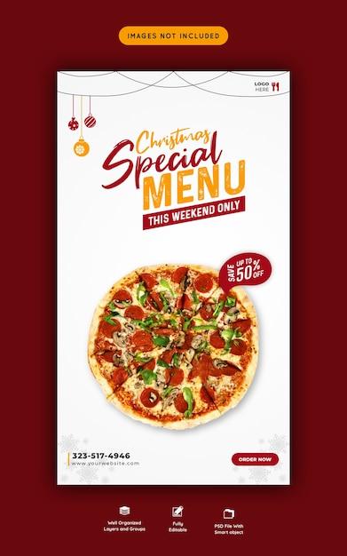 Menu de comida de feliz natal e pizza deliciosa modelo de história do instagram e facebook Psd Premium