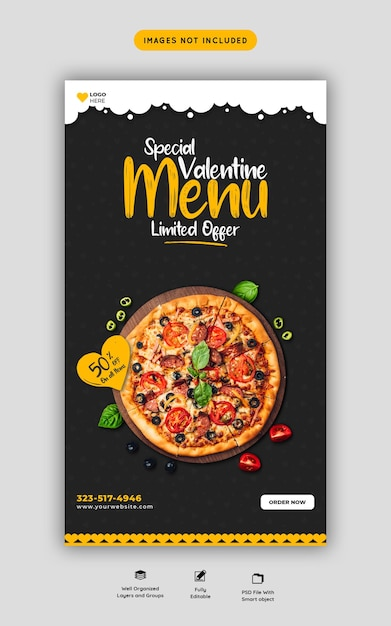 Menu de comida do dia dos namorados e deliciosa pizza no instagram e modelo de história do facebook Psd grátis