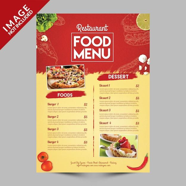 Menu de comida do restaurante Psd Premium