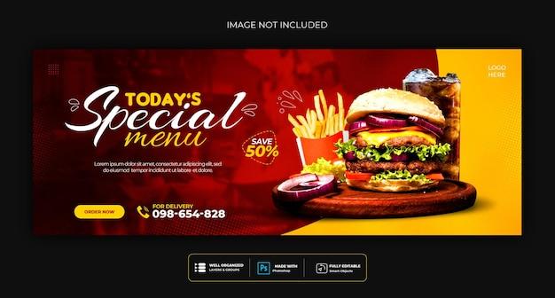 Menu de comida e modelo de capa de mídia social de restaurante Psd grátis