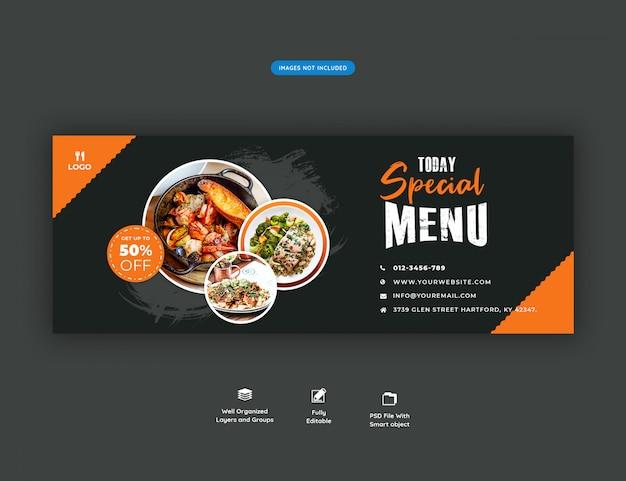 Menu de comida e restaurante facebook cobrir modelo de banner Psd Premium