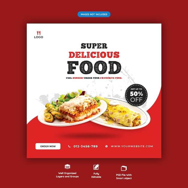 Menu de comida e restaurante modelo de banner de mídia social Psd Premium