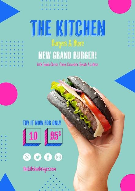 Menu de cozinha com novo modelo de hambúrguer Psd grátis