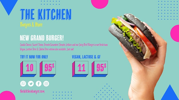 Menu de cozinha delicioso hambúrguer Psd grátis
