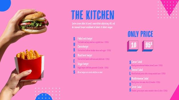 Menu de cozinha moderna com foto Psd grátis