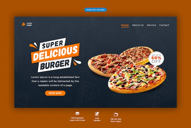 Menu de fast-food ou página de destino horizontal da web de pizza Psd Premium