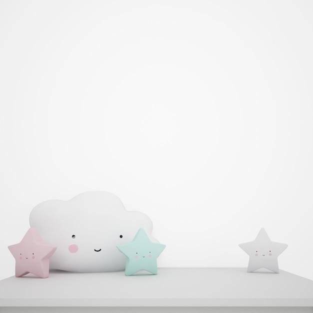 Mesa branca decorada com objetos infantis, nuvens kawaii e estrelas Psd grátis