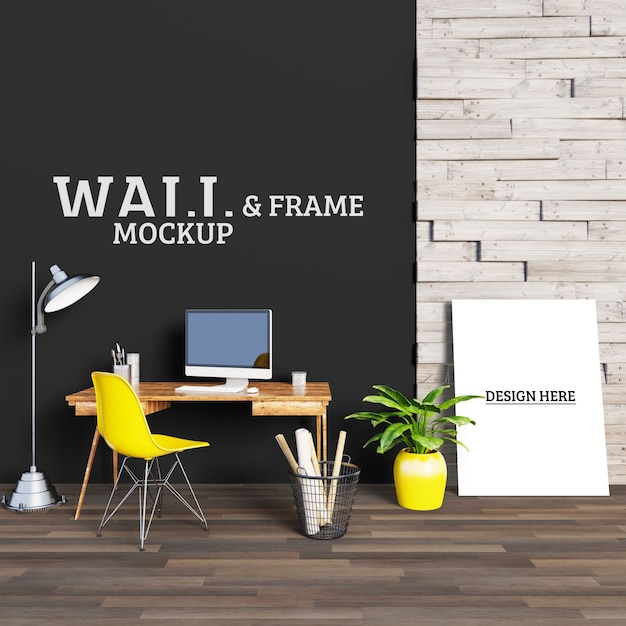 Mesa com impressionante cadeira amarela e moldura Psd Premium