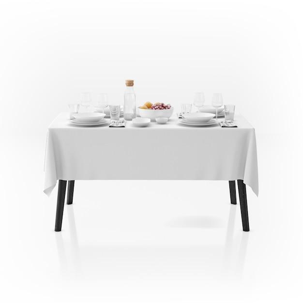 Mesa com toalha de mesa e louça Psd grátis