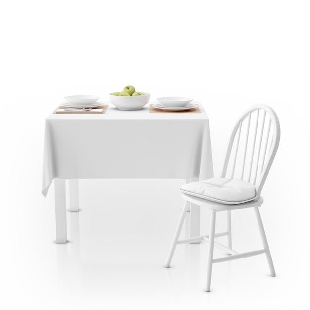 Mesa com toalha de mesa, louça e cadeira Psd grátis