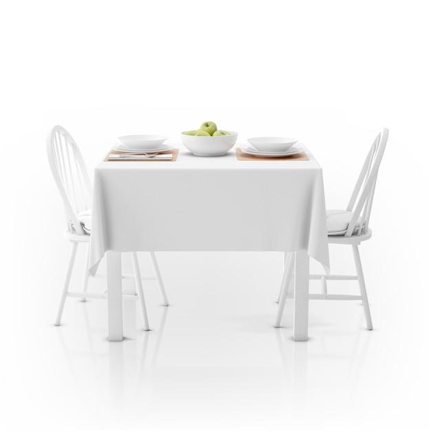 Mesa com toalha de mesa, louça e cadeiras Psd grátis