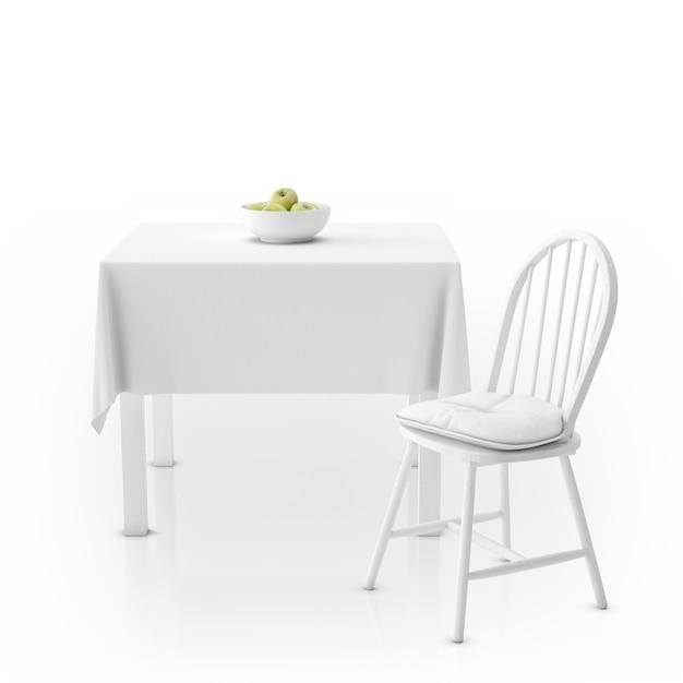 Mesa com toalha de mesa, tigela com maçãs e cadeira Psd grátis