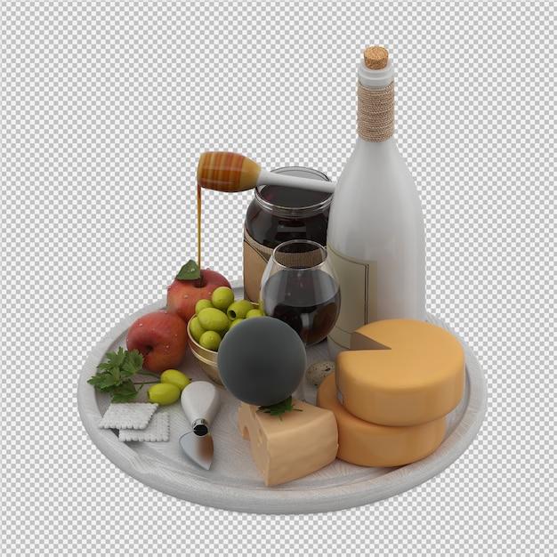 Mesa pequena com provolone vinho azeitonas maçã mel 3d render Psd Premium