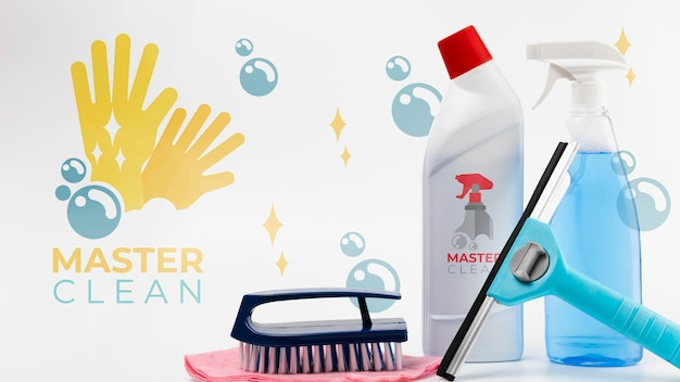 Mestre da casa limpa vários equipamentos Psd grátis