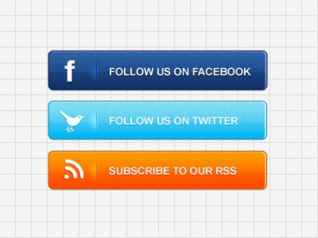 Mídia botões sociais psd material Psd grátis