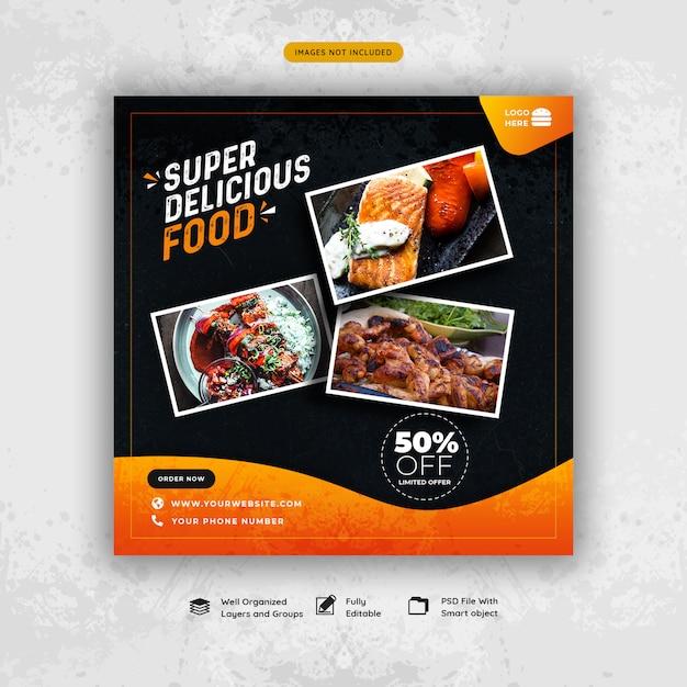 Mídia social de comida de restaurante postar modelo de banner Psd Premium