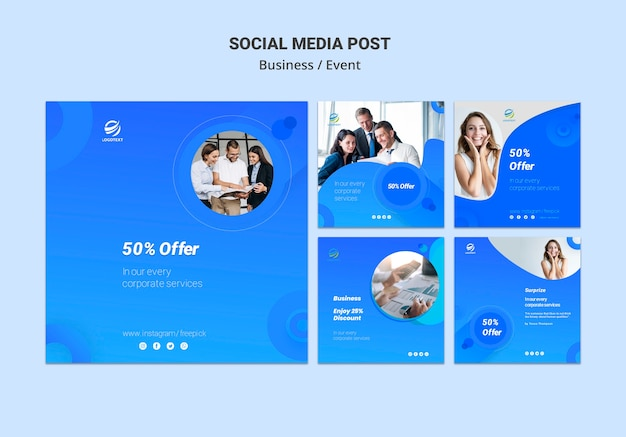 Mídia social de negócios postar conceito de modelo Psd grátis