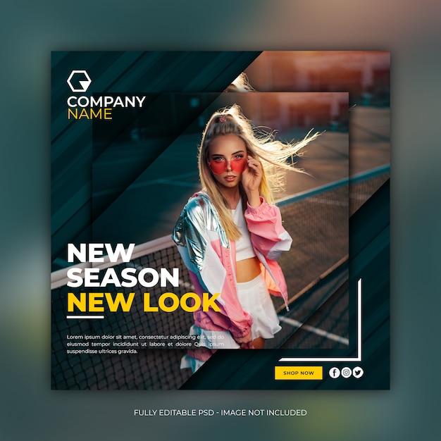Mídia social instagram moda modelo de banner quadrado de venda Psd Premium