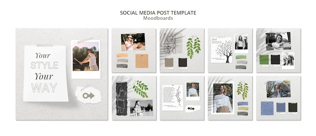 Mídia social post conceito com moodboard Psd grátis