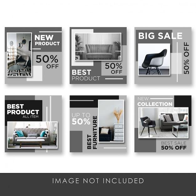 Mídia social postar em casa e mobiliário preto elegante coleção modelo Psd Premium