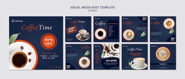 Mídia social postar modelo com café Psd grátis