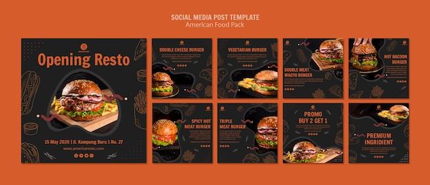 Mídia social postar modelo com comida americana Psd grátis