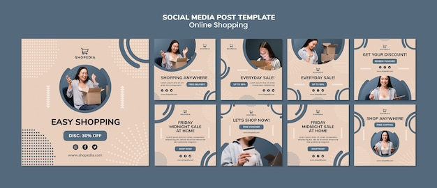 Mídia social postar modelo com compras on-line Psd grátis