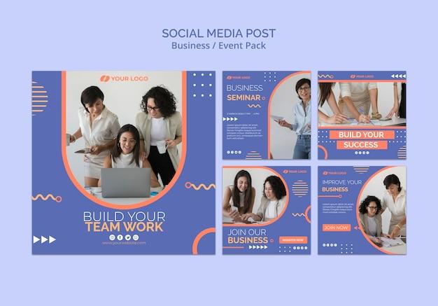 Mídia social postar modelo com conceito de evento de negócios Psd grátis