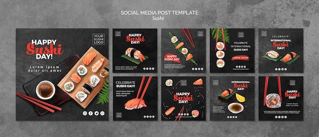 Mídia social postar modelo com dia de sushi Psd grátis