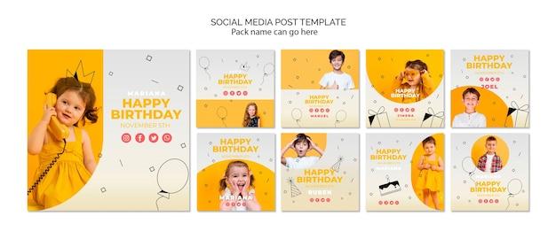 Mídia social postar modelo com feliz aniversário Psd grátis