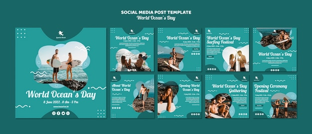 Mídia social postar modelo com o dia mundial dos oceanos Psd grátis