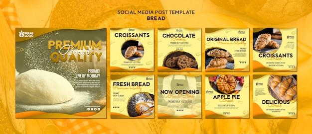 Mídia social postar modelo com pão Psd grátis