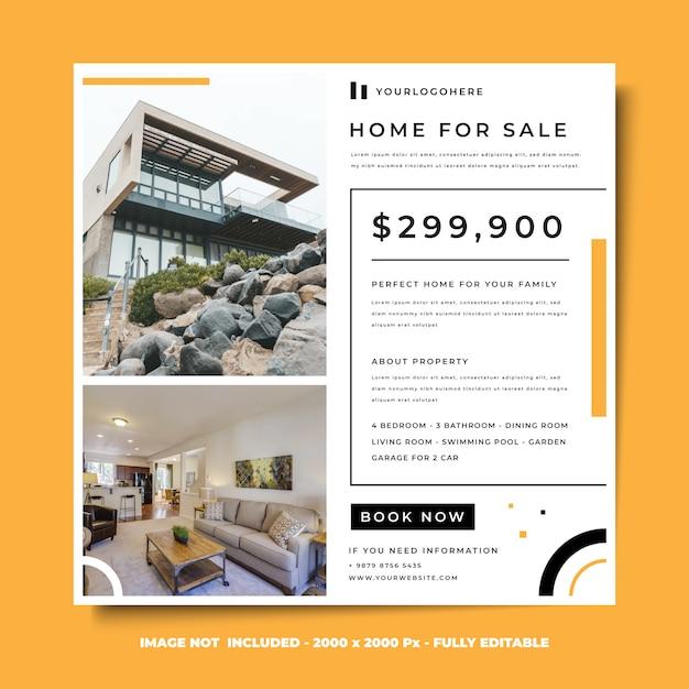 Mídia social quadrado banner design modelo estilo minimalista casa à venda Psd Premium