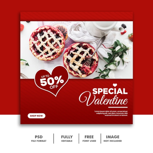Mídias sociais post instagram valentine banner, food red Psd Premium