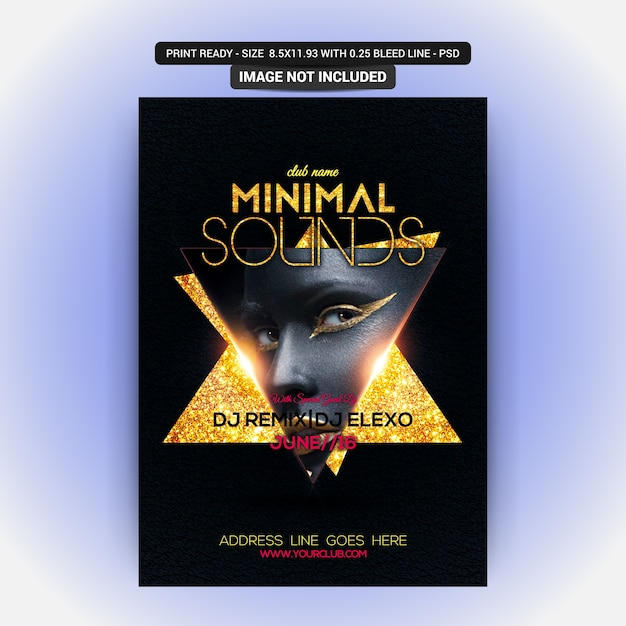 Minimal sounds party flyer Psd Premium